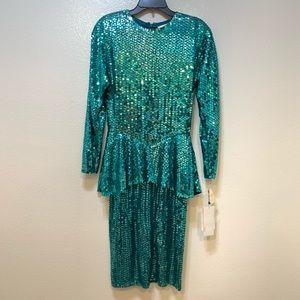 80's Vintage Sequin Peplum Cocktail Dress by Para